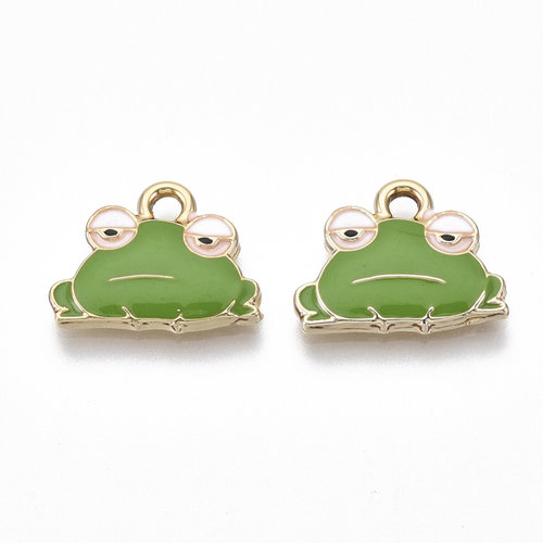Frog Charm Gold Green Nickel Free 12.5x15.5mm