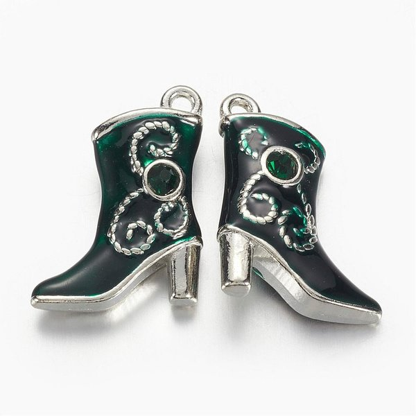 Boot Charm Silver Green with Rhinestone 16x21mm