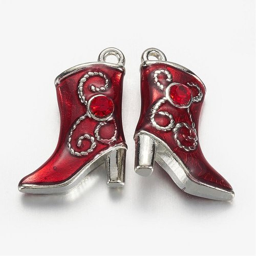 Boot Charm Silver Red with Rhinestone 16x21mm