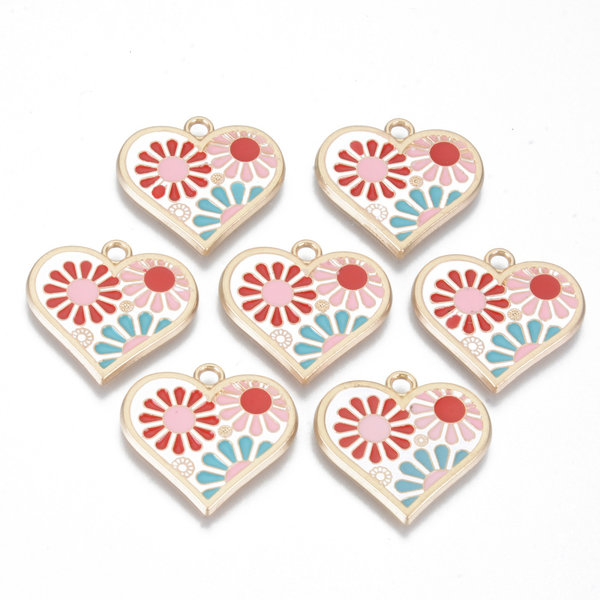 Heart with Flower Charm Gold Pink Red Blue 21x22mm