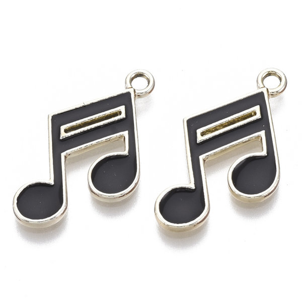 Musical Note Charm Gold Black 16x22mm