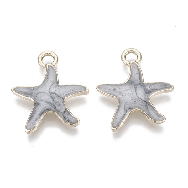 Starfish Charm Gold Grey 20x18mm