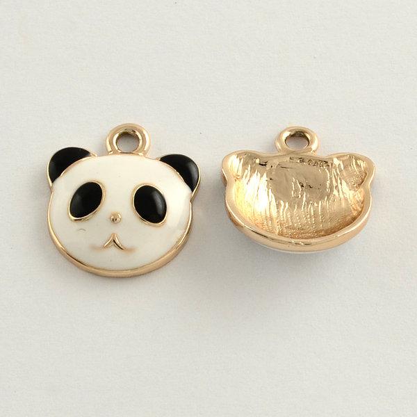 Panda Charm Gold Black White 18x16mm