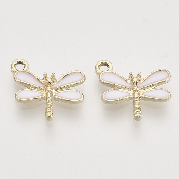 Dragonfly Charm Gold White 14.5x15.5mm