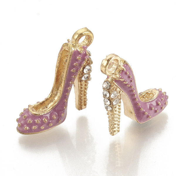 Pumps Charm Gold and Pink with Rhinestones 17.5x14mm