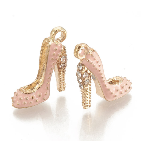 Pumps Charm Gold and Salmon with Rhinestones 17.5x14mm
