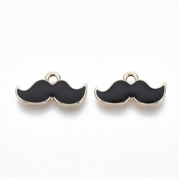 Moustache Charm Gold Black Nickel Free 9x17mm