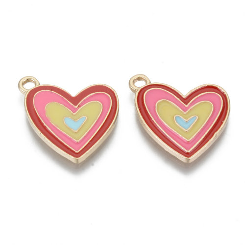 Charm Heart Light Golden Red Pink 20x17.5mm