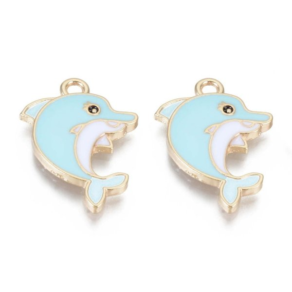 Dolphin Charm Gold Blue 24x17mm