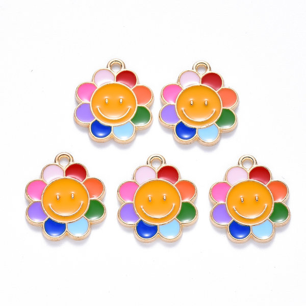Colourful Flower Charm Gold 18.5x16mm
