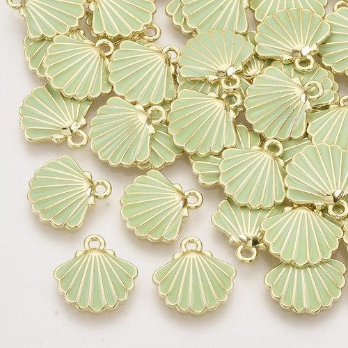 Shell Charm Gold Green 13x13mm