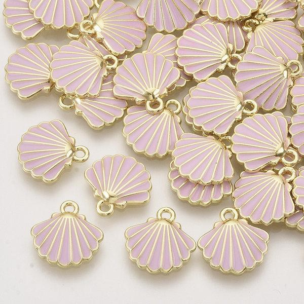 Shell Charm Gold Pink 13x13mm