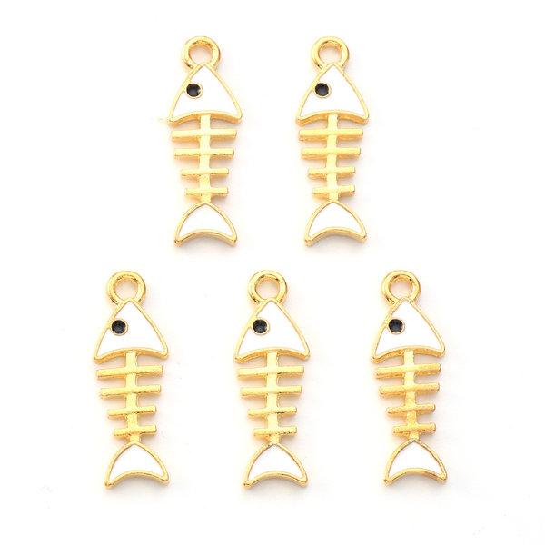Fish Bone Charm Gold White 24x8mm