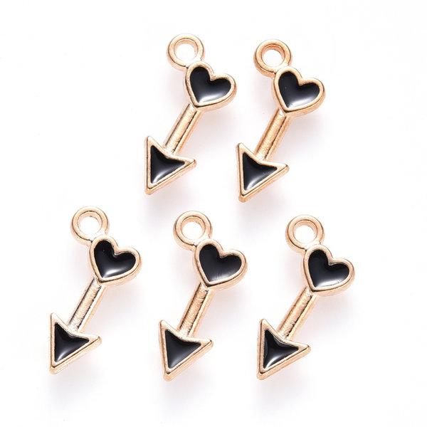 Arrow with Heart Charm Gold Black 15x8mm