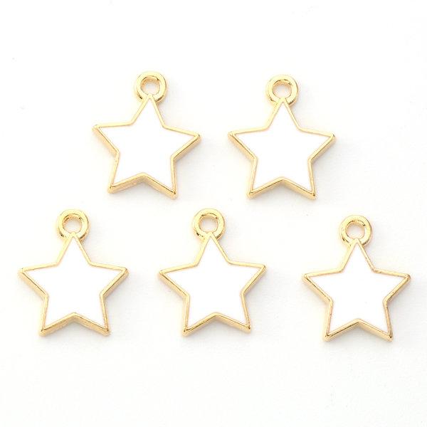 Star Charm Gold White 14x12mm