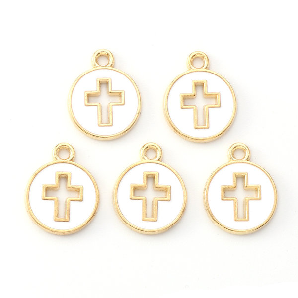 Cross in Circle Charm Gold White 15x12mm