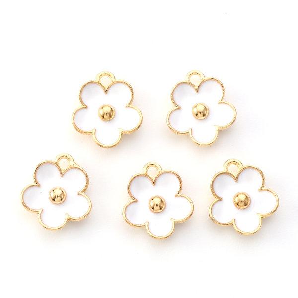 Flower Charm Gold White 13x11.5mm