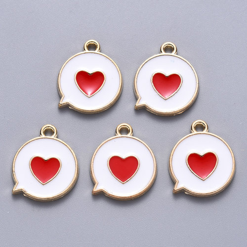 Heart in Circle Charm Gold White Red 17x14mm