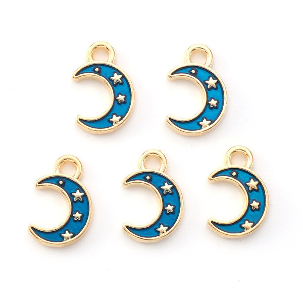 Half Moon with Star Charm Gold Blue 11.5x7.5mm