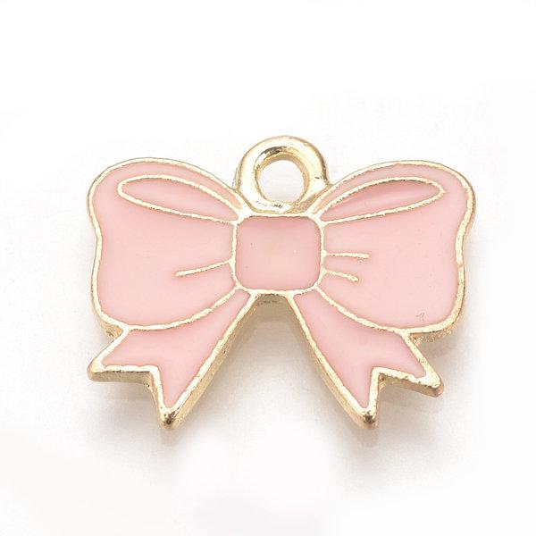 Bowknot Charm Gold Pink 14.5x17mm