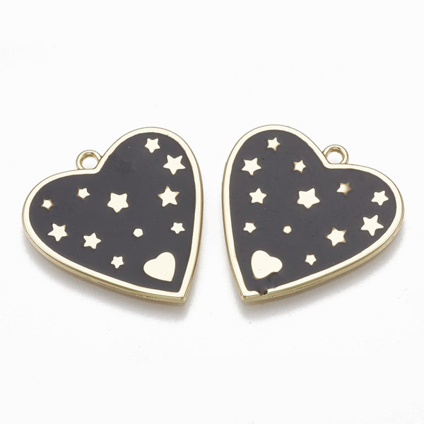 Heart with Stars Note Charm Gold Black 24x22.5mm