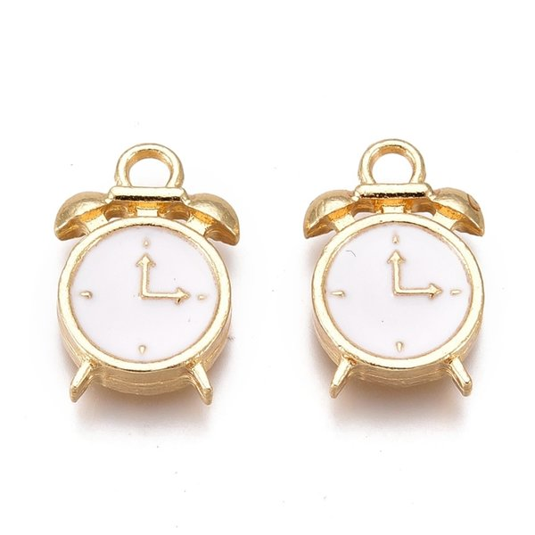 Alarm Clock Charm Gold White 16x10.5mm