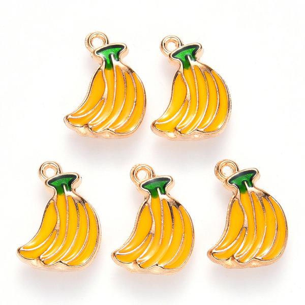 Bananas Charm Gold Yellow Green 15x11mm