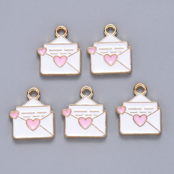 Envelope with Heart Charm Gold White Pink 13x16mm
