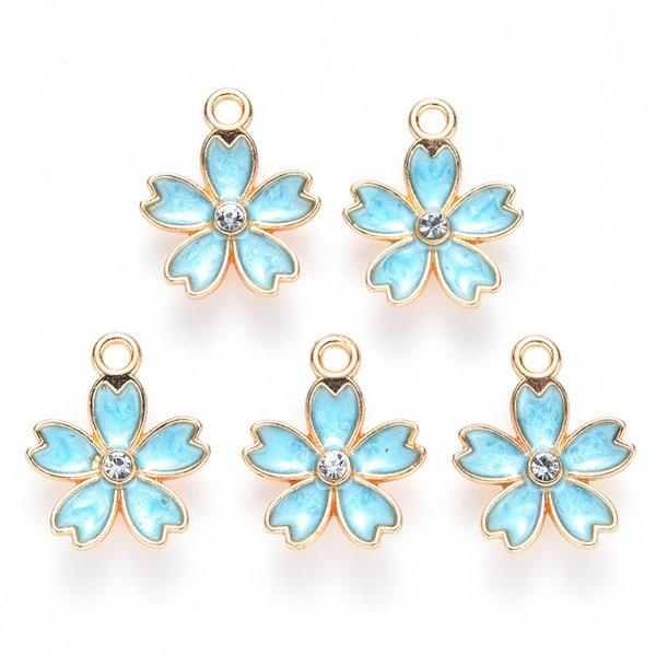 Flower Charm with Rhinestone Gold Blue 17x14mm