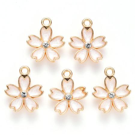 Flower Charm with Rhinestone Gold Beige 17x14mm