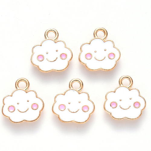 Smiley Cloud Charm Gold White Pink 13x12mm