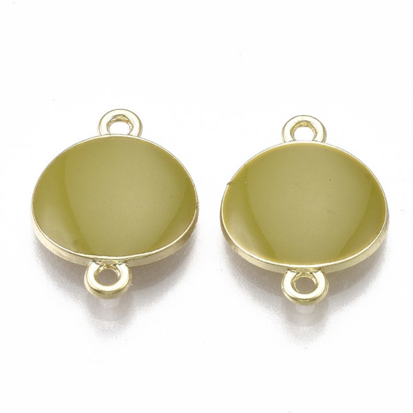 Round Link Gold Olive Green 17x13mm