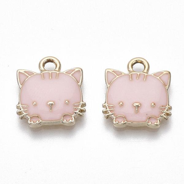 Kitty Charm Gold Pink Nickel Free 15x13mm