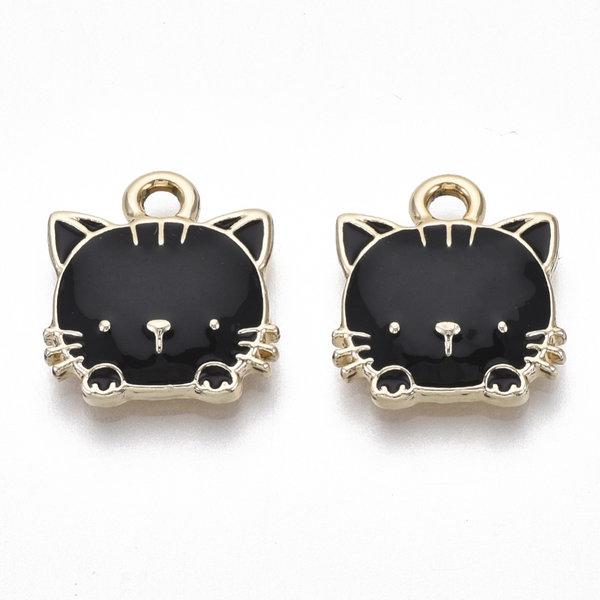 Kitty Charm Gold Black Nickel Free 15x13mm