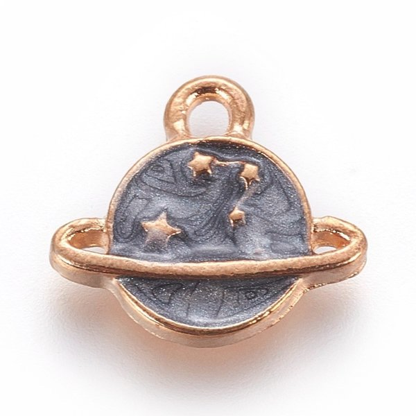 Planet with Star Charm Gold Grey 13x14.5mm