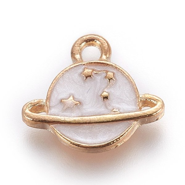 Planet with Star Charm Gold White 13x14.5mm