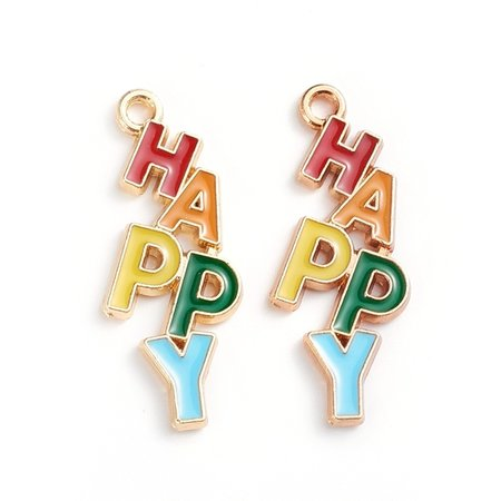 """""""HAPPY""""  Charm Gold Coloured 29x11.2mm"""