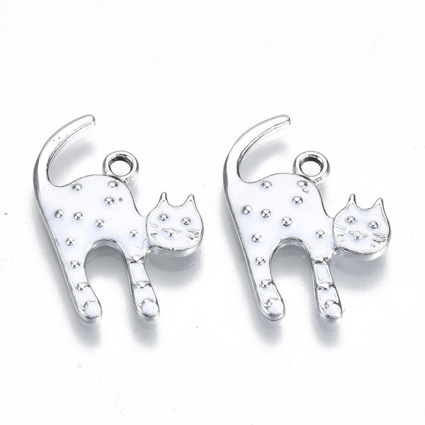 Cat Charm White Silver Nickel Free 23x15mm