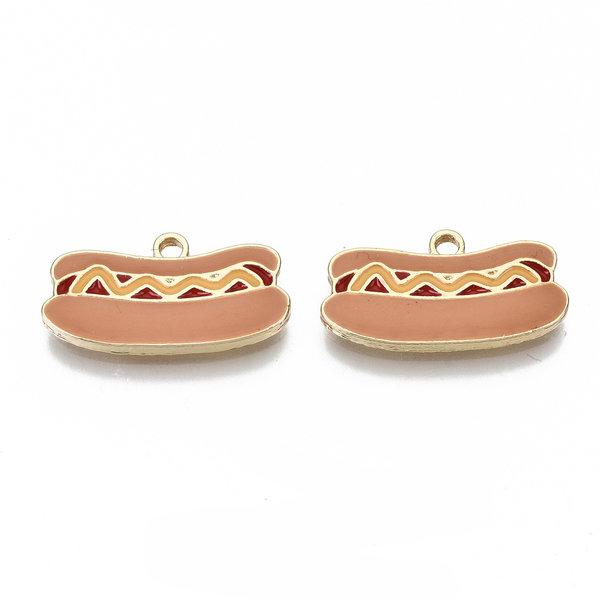 Hotdog Charm Gold Nickel Free 11x20mm
