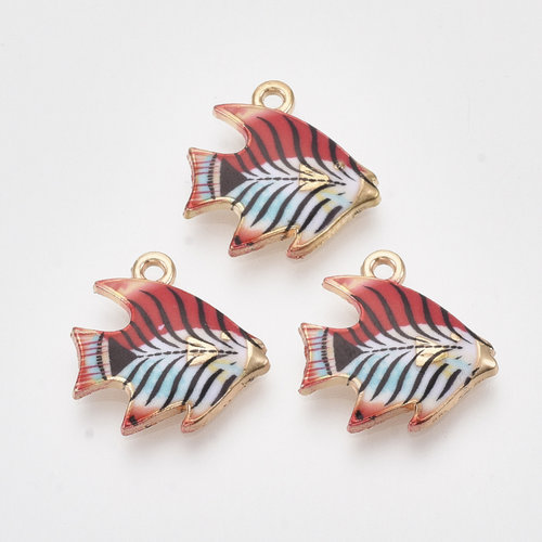 Tropical Fish Charm Gold Red Blue 16.5x16.5