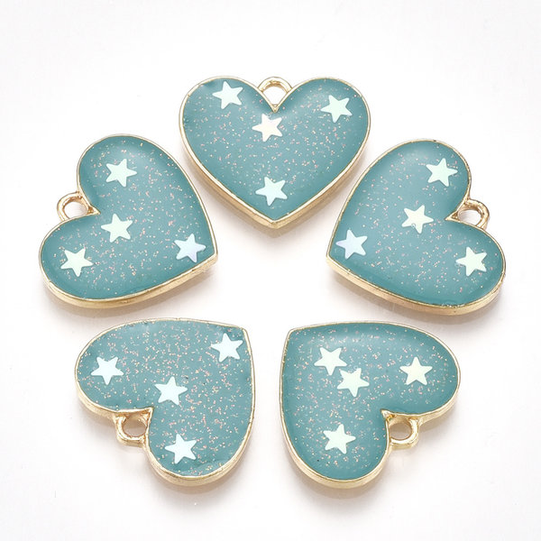 Heart with Stars  Charm Gold Turquoise 15.5x17.5mm