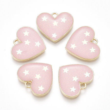 Heart with Stars  Charm Gold Pink 15.5x17.5mm