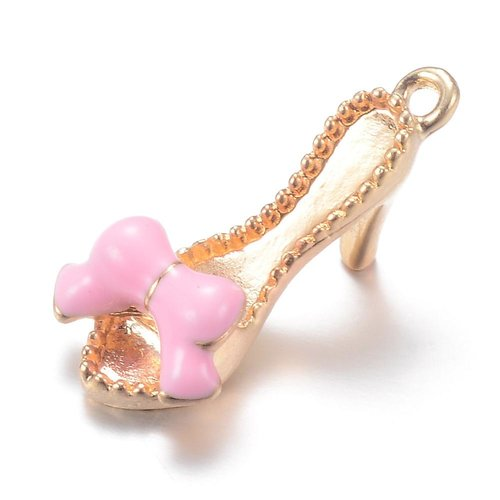 Slippers with Heels Charm Gold Pink 21.5x10mm