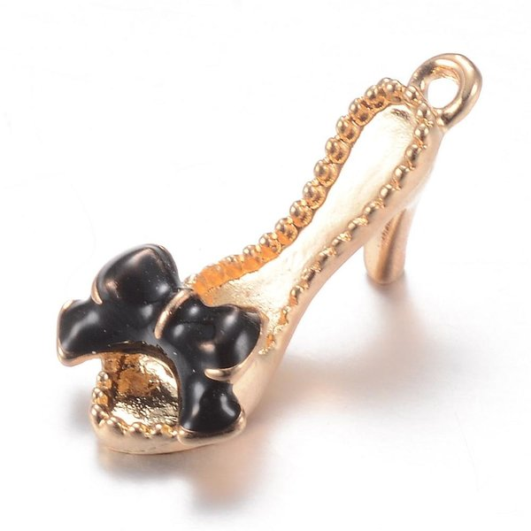 Slippers with Heels Charm Gold Black 21.5x10mm