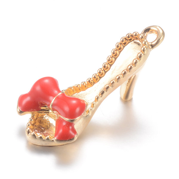 Slippers with Heels Charm Gold Red 21.5x10mm