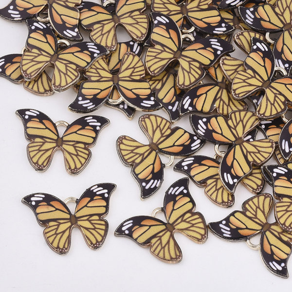 Butterfly Charm Gold Yellow 15.5x22mm