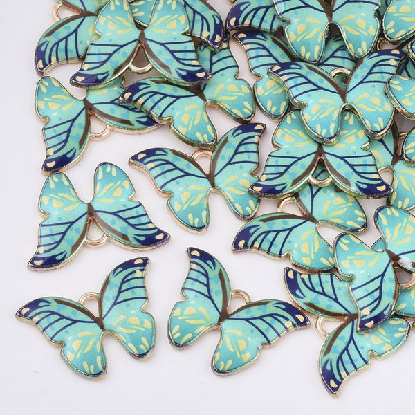 Butterfly Charm Gold Turquoise 15.5x22mm