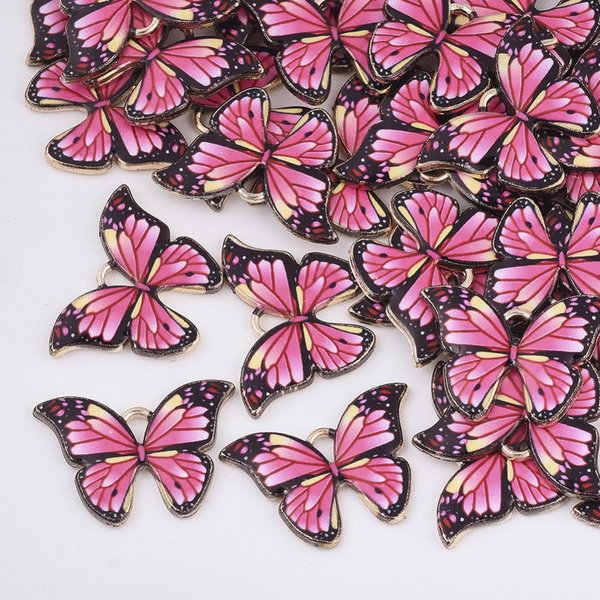 Butterfly Charm Gold Pink 15.5x22mm