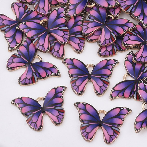 Butterfly Charm Gold Pink Blue 15.5x22mm