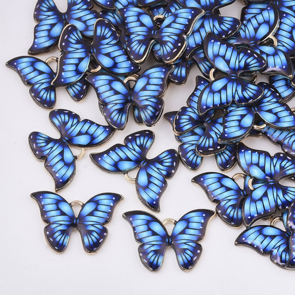 Butterfly Charm Gold Blue 15.5x22mm